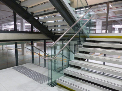 tailor made glass stair railing for public place
