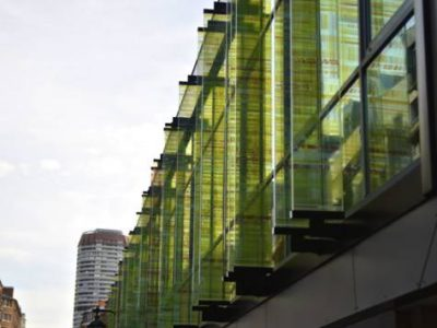 glass frontage made of decorative laminated glass