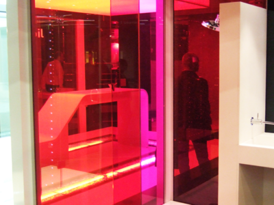 decorative laminated glass with colored interlayer