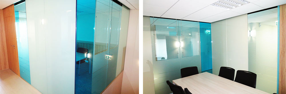 glass partition made of color laminated glass