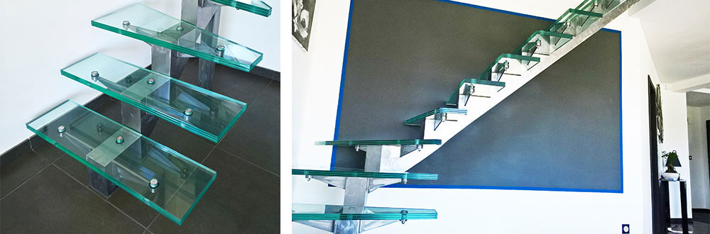 glass stairs made of toughened laminated glass