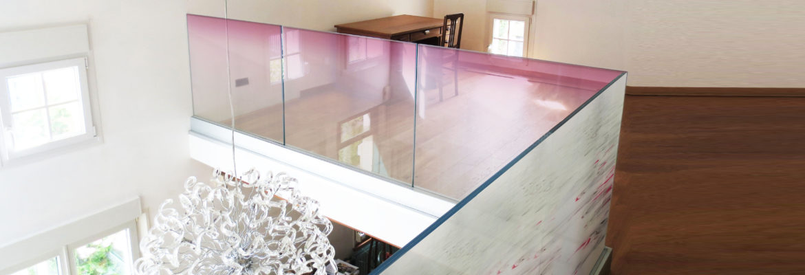 glass railing made of decorative laminated glass with interlayer