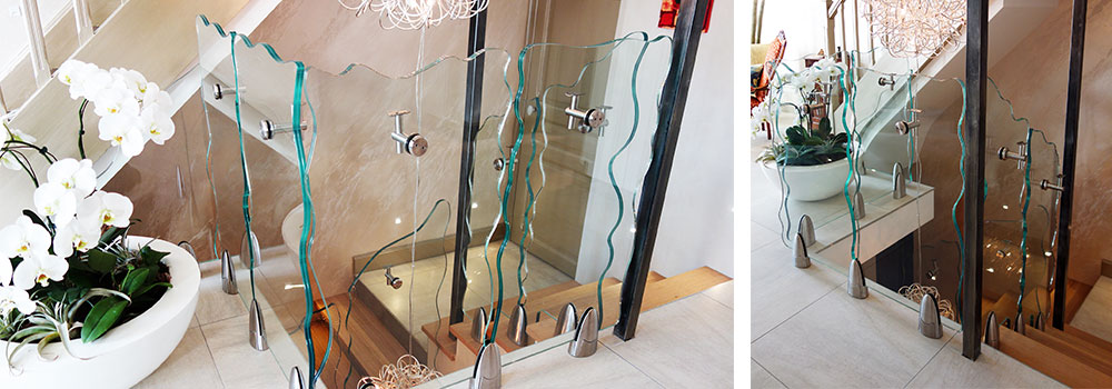glass railing with points fixing