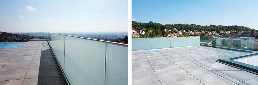 glass railing with opale toughened laminated glass