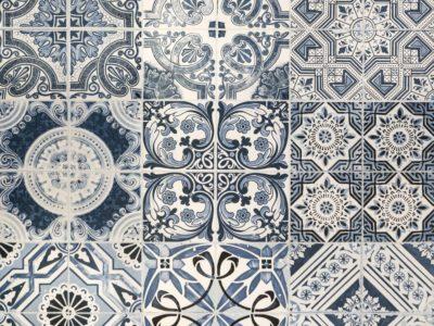 kitchen splashback with image interlayer cement tiles effect