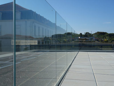 glass railing floor mounting