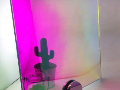 pink dichroic decorative laminated glass