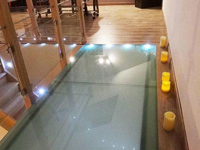 opaque glass floor