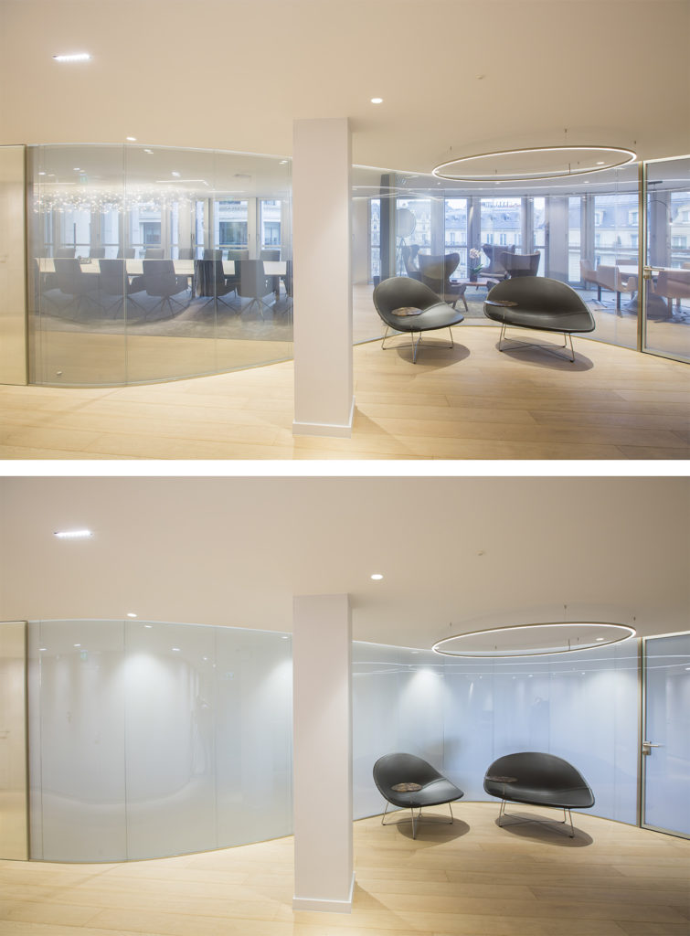Switchable glass for a conference room