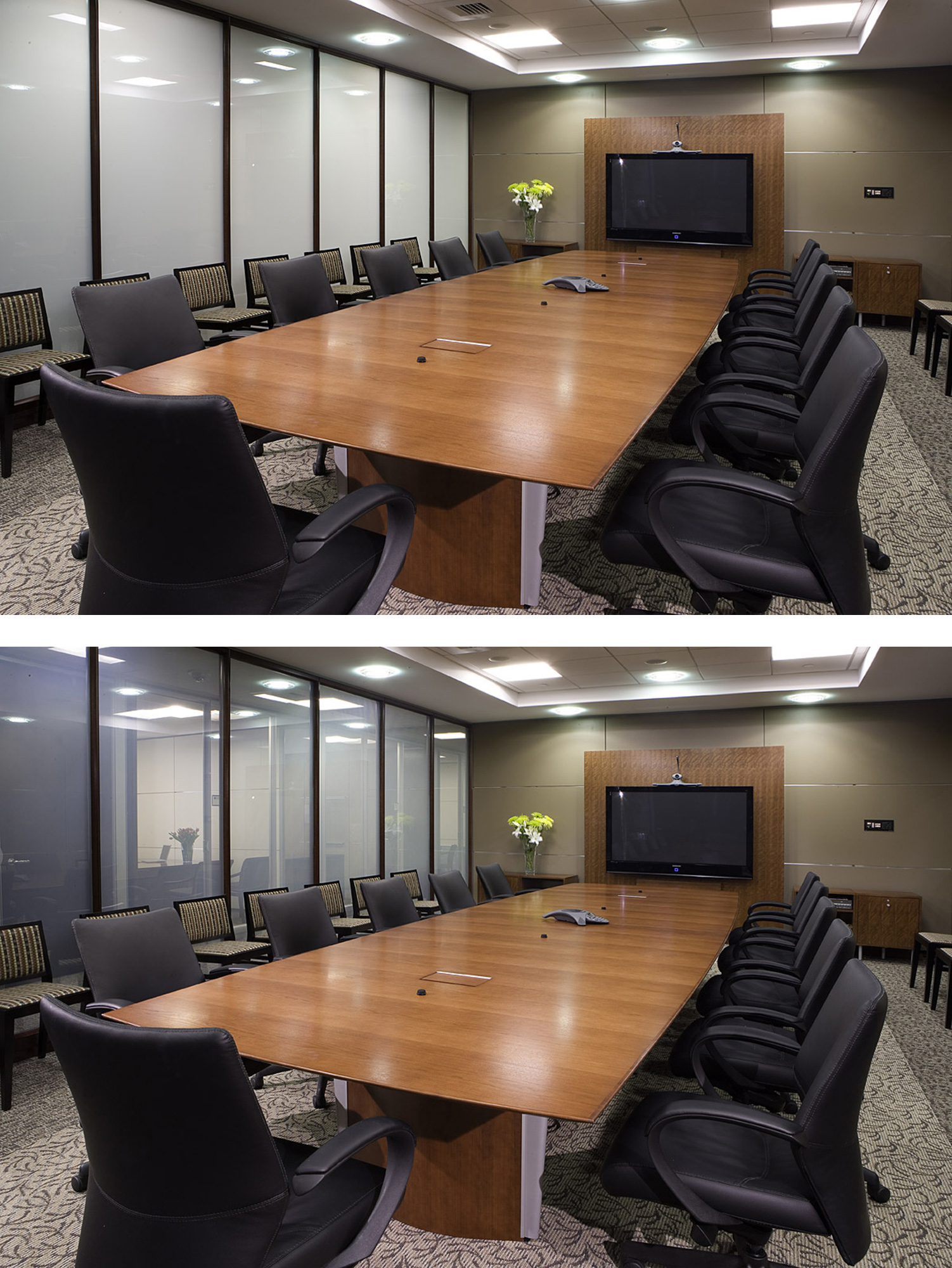 Intelligent glass switchable glass meeting room