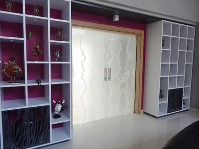 decorative laminated glass door