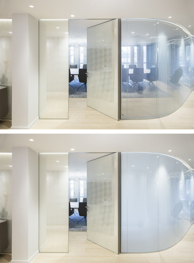 Switchable glass for a meeting room