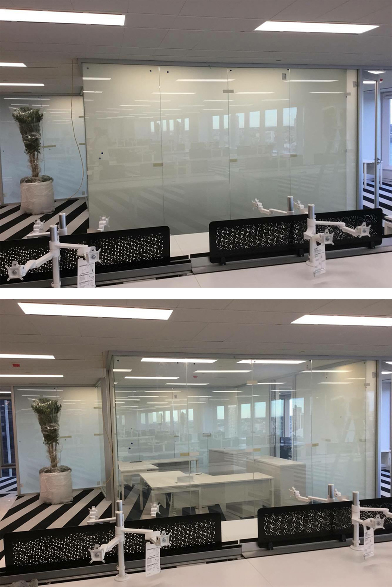 Switchable glass partition wall