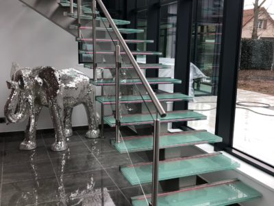 custom made glass staircase