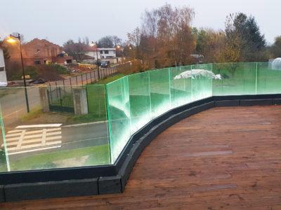 glass railing interlayer leds