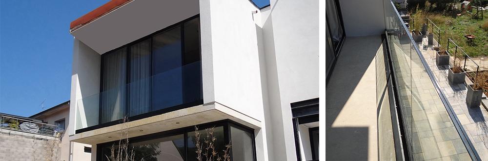 Glass railing on onlevel profile