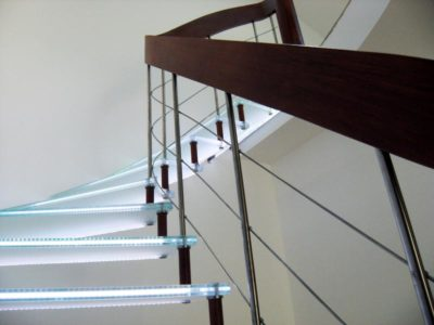 Glass Stairs with interlayer LEDs
