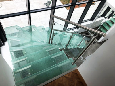 glass stairs with crash laminated glass