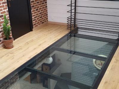 glass walk on floor