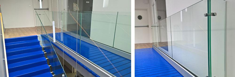 Interior glass handrail