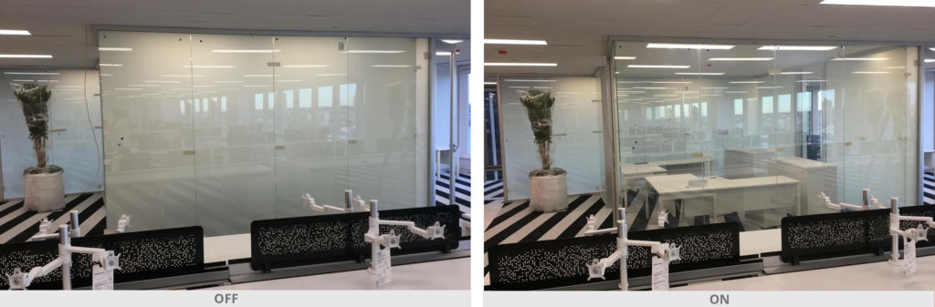 Controlled switchable glazing for glass partitions