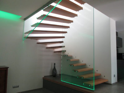 Glass railing with LEDs insertion