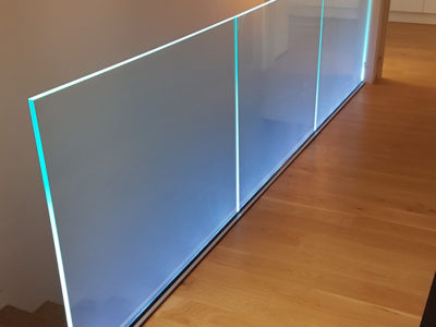 Glass railing with LED profile