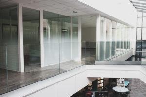 interior glass railing on profile